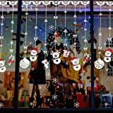 Christmas Snowflakes Snowman Reindeer Window Wall Stickers Removable Mural For Home Decoration 30*90cm