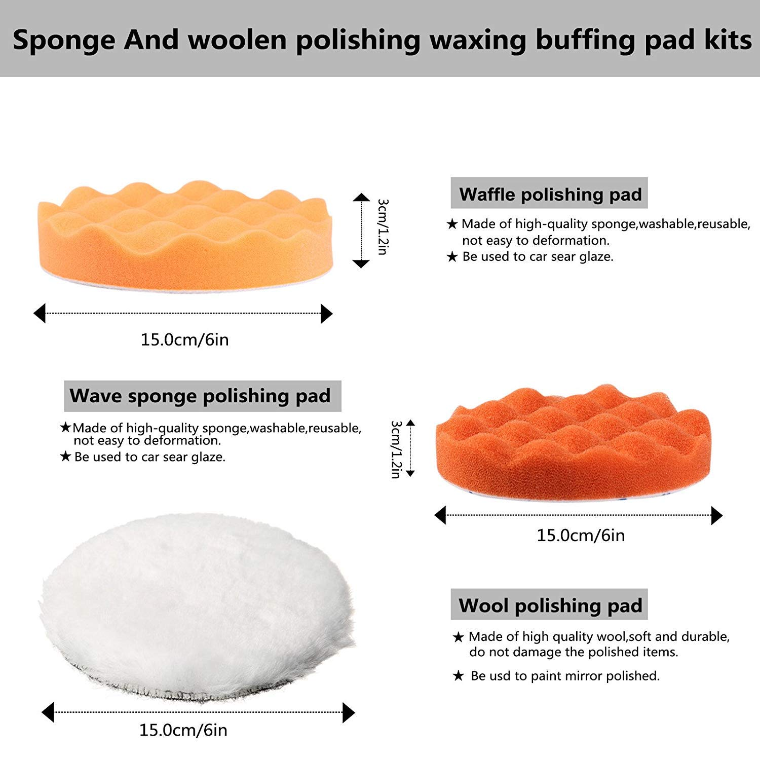 Learned 3pcs Car Polishing Sponge Pads Waxing Buffing Pad Foam Kit Set For Car Polisher Buffer Sander Polishing Waxing Sealing Glaze Carefully Selected Materials Abrasive Tools
