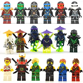 Amazon.com: ArRord 18 Pcs Minifigures Cole Lloyd Kai Nya Zane Ghost ...