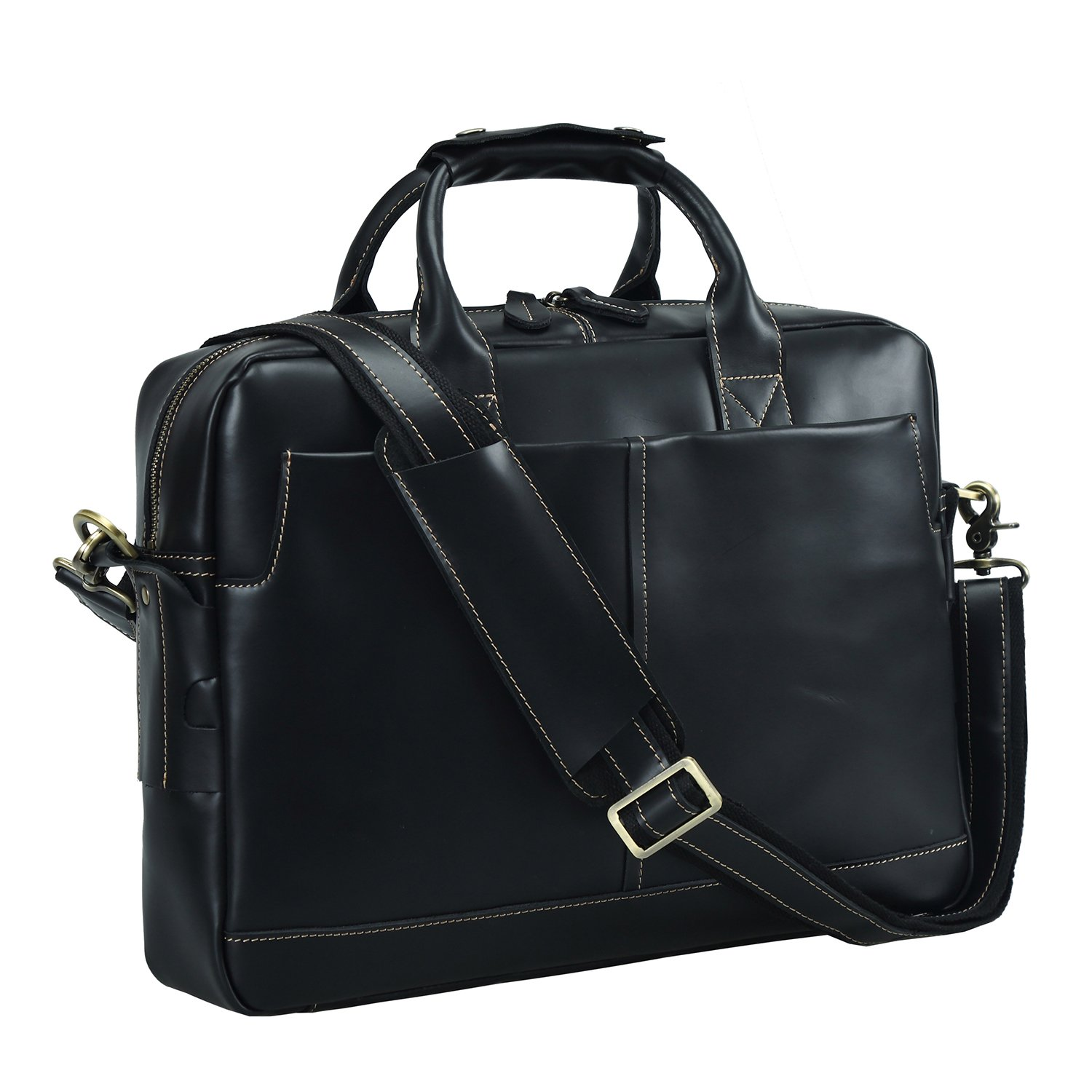 Texbo Genuine Leather Men's Briefcase Messenger Tote Bag Fit 17'' Laptop (Black) by Texbo