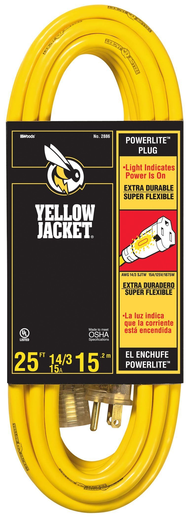 Yellow Jacket 2886 14/3 Heavy-Duty 15-Amp SJTW Contractor Extension Cord with Lighted Ends, 25-Feet by Yellow Jacket