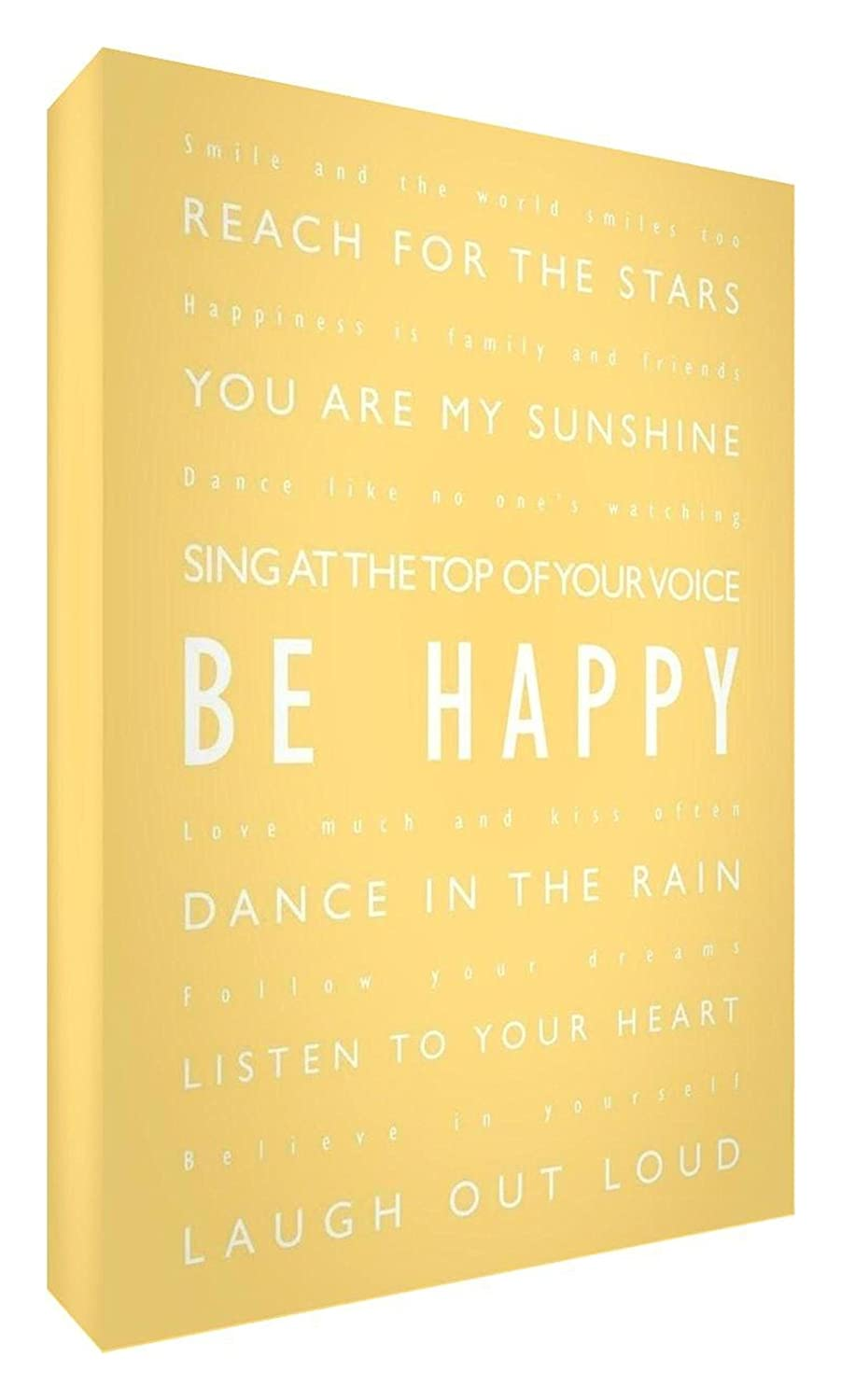 Feel Good Art Gallery Wrapped Box Canvas with Solid Front Panel in Modern and Inspirational Typographic Design (30 x 20 x 4 cm, Small, Teal on White, Be Happy) NB/BH128-07R