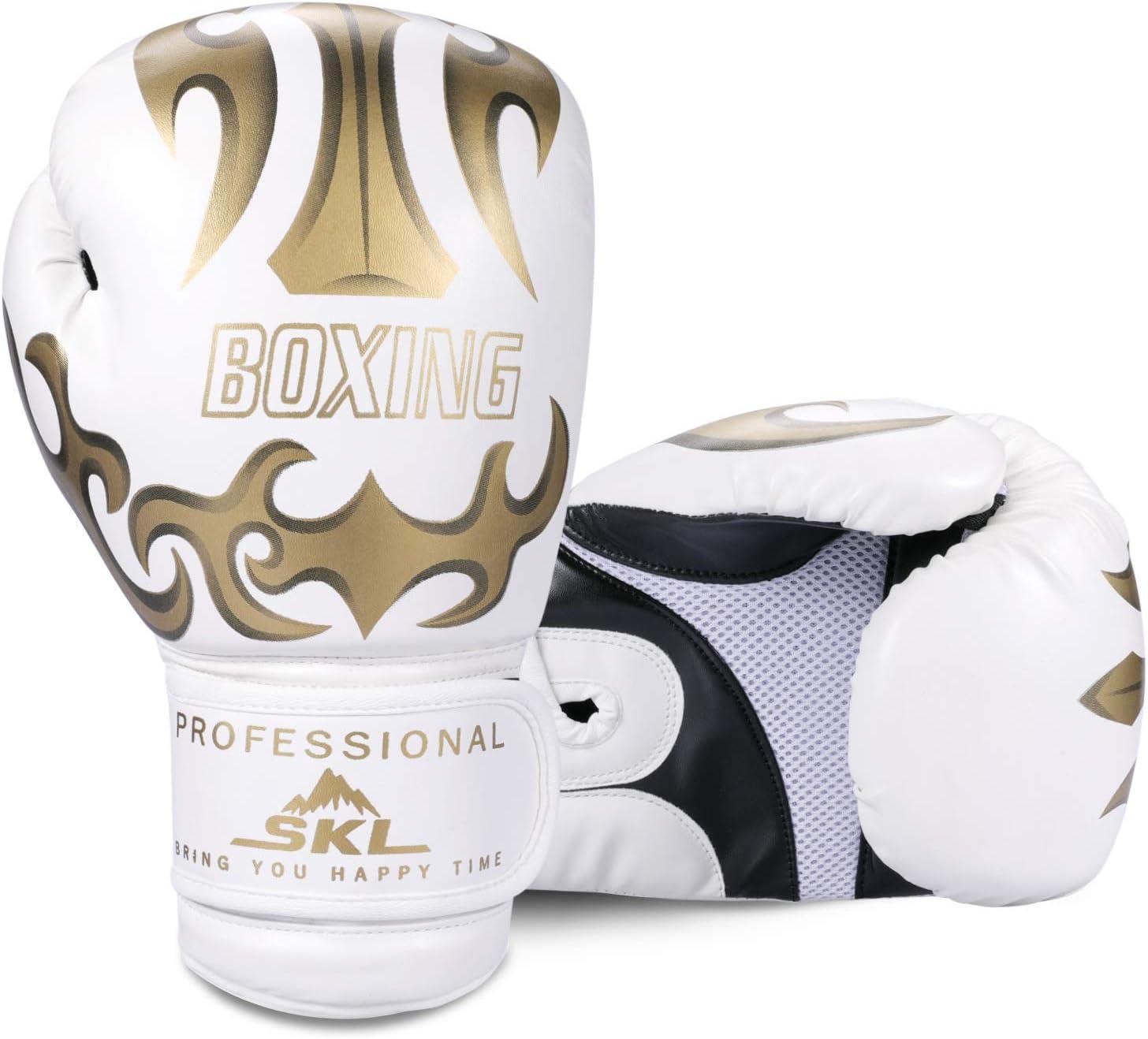 SKL Gants de Boxe Poin/çonnage Gants Formation Mitaines 10 oz Sparring Gants de Boxe Adultes Hommes Femmes PU Cuir Noir Blanc
