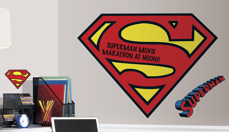 RoomMates RMK2624SLM Dry Erase Superman Logo Peel And Stick Giant Wall  Decals     Amazon.com
