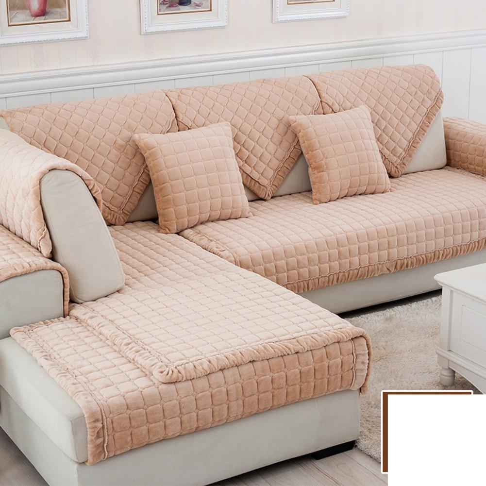 DW&HX winter Thicken Flannel plush Sofa cushions, Cover Anti-skidding Fabric Sofa cover Cushion-I 90x240cm(35x94inch)