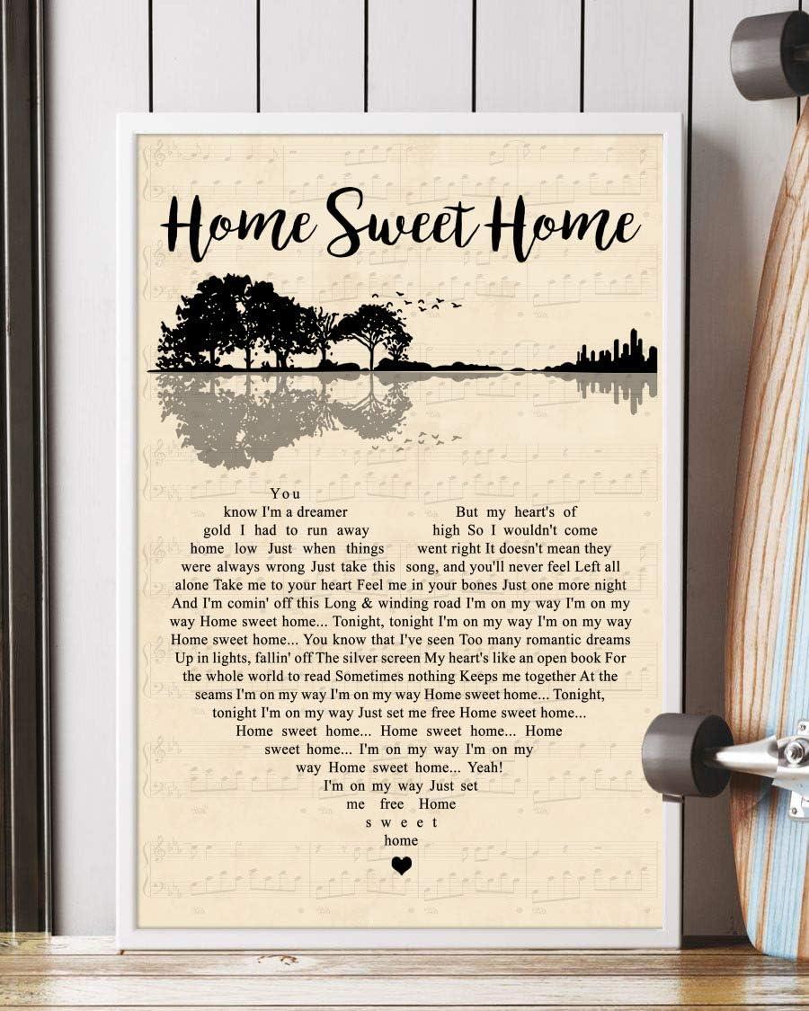 Amazon Com Trendora Decor Home Sweet Home Song Lyrics Guitar Heart Portrait Poster Print 16 X 24 Posters Prints