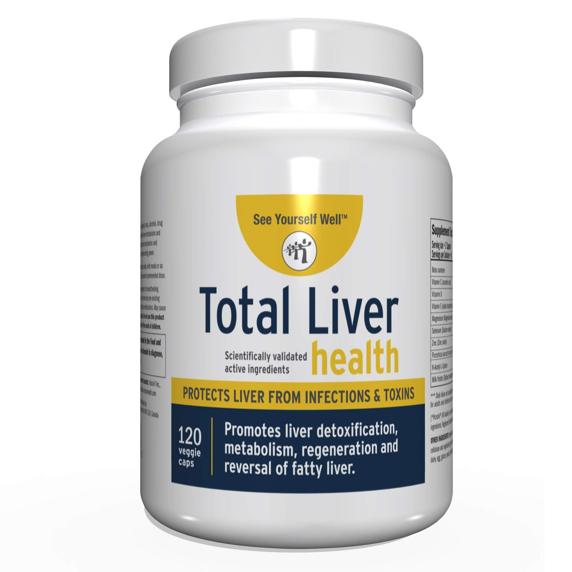 Total Liver Health: Liver Cleanse, Detox, Regeneration, Fatty Liver Reversal. Protection from Infections & Toxins. Trademarked Ingredient Picroliv. (120)