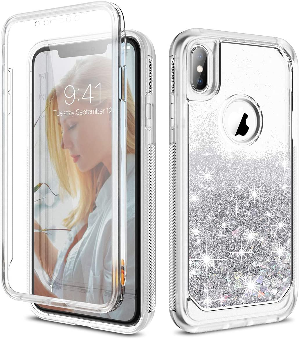 SURITCH Case for iPhone X/iPhone Xs, [Built-in Screen Protector] Glitter Liquid Quicksand Floating Full-Body Protection Rugged Bumper Shockproof Case for iPhone X/iPhone Xs 5.8 Inch(Silver)