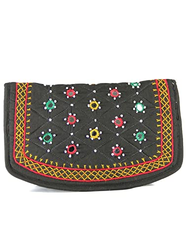 25211a3dbf32 Womens Cottage Handmade Black Cotton Big Jali Patch Work Hand Purse ...