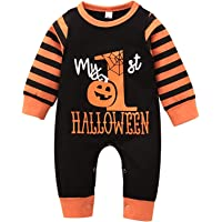 Buyinsoon My First Halloween Baby Boy, Baby Girl Romper Newborn Toddler Clothes Halloween Striped Jumpsuit for 0-24M…
