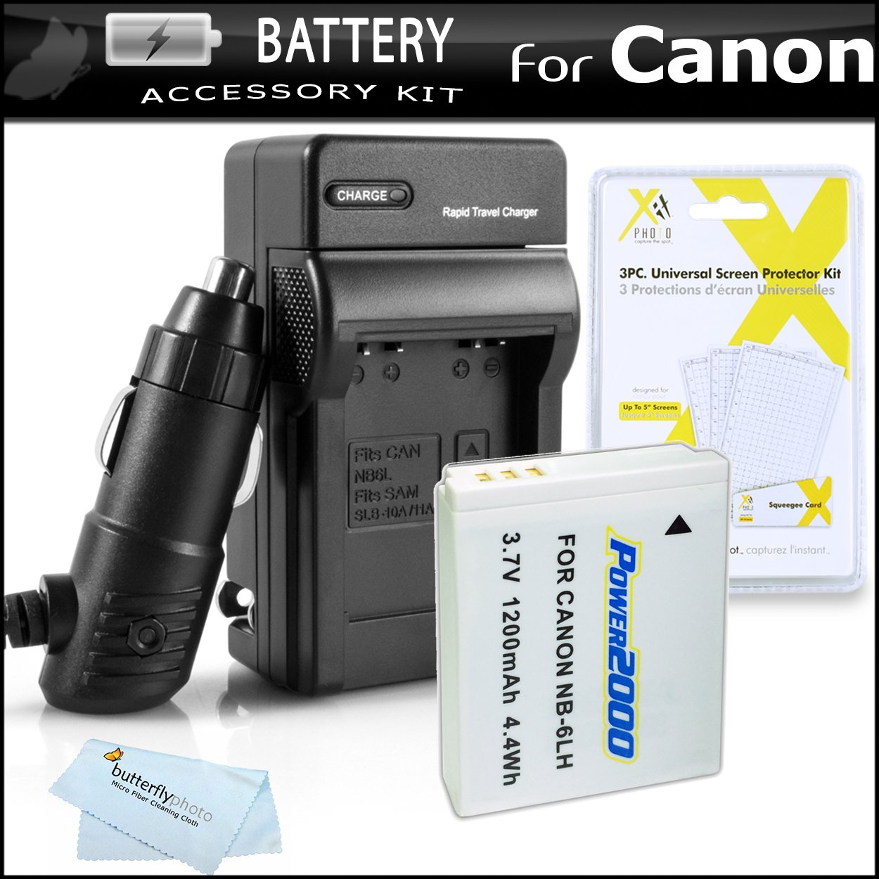 Replacement Battery for Canon NB-6LH NB-6L 1200MAH Each + 1 Hour Charger  for Canon Powershot SX280 HS, SX500 is, D10, D20, D30, SX600 HS, SX610 HS,
