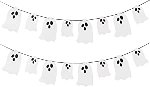 Halloween Hanging Ghost Banner -White Glittery Halloween Party Banner for Haunted Houses Doorways Indoor Outdoor Home Mantel Decorations Supplies (2 Pack)