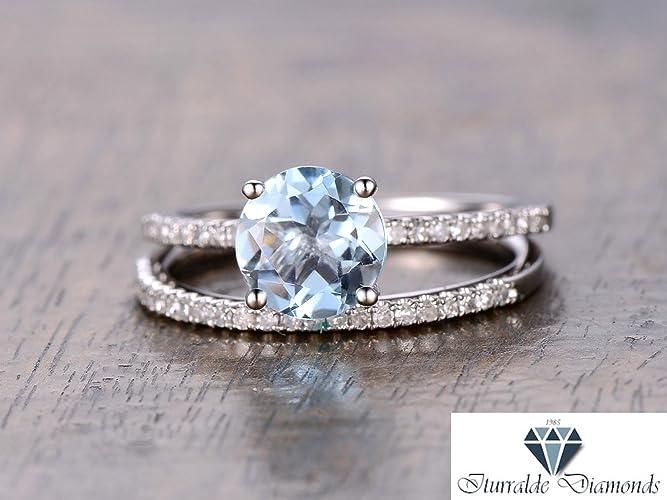 87c94d16ac8ab6 Amazon.com: 14k Round Cut Aquamarine Solitaire Diamond Pave Engagement Ring  Set: Handmade