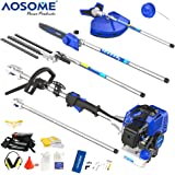 AOSOME 52CC Petrol Multi Function Garden Tool - Hedge Trimmer, Strimmer, Brush Cutter, Pruner Chainsaw & Extension Pole + Extra Bosch Spark Plug