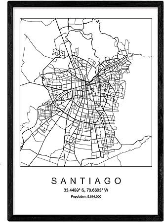 Nacnic Lámina Mapa de la Ciudad Santiago Estilo nordico en Blanco ...