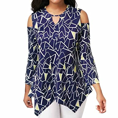 77f2fa20a9371 VEZAD Asymmetric Printed T-Shir Cold Shoulder Long Sleevet Tops Fashion  Blouse