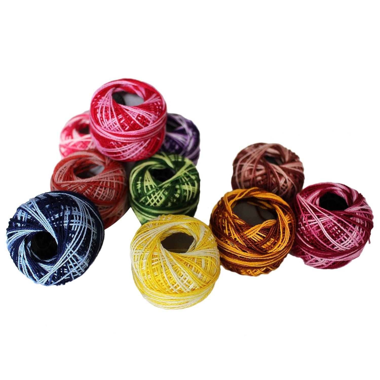 Hilo de algodón - Hilo de tejer 10 x 5 gramos (47.5 yardas) Colores ...