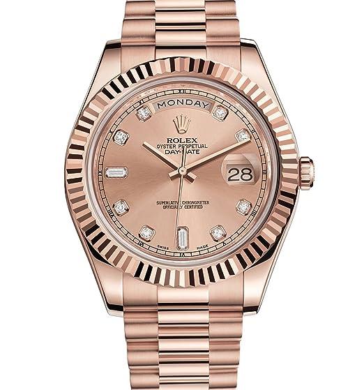 Rolex Day-Date II Rose Oro Presidente Reloj Rosa Diamond Dial: ROLEX: Amazon.es: Relojes