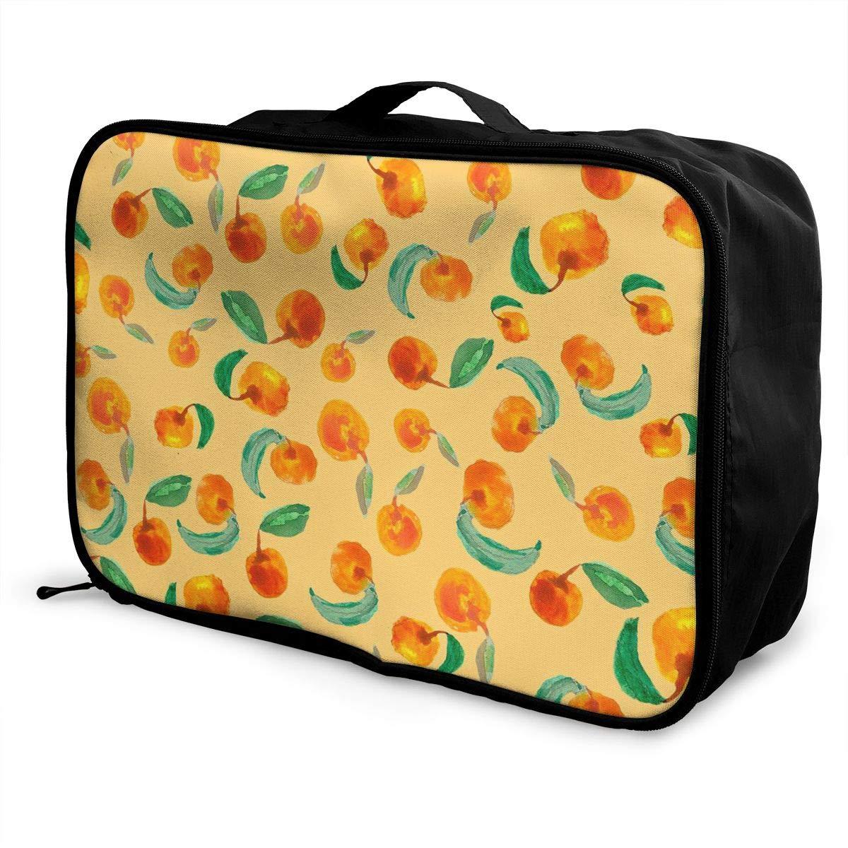 Travel Bags Watercolor Strawberry Pattern Portable Handbag Trolley Handle Luggage Bag