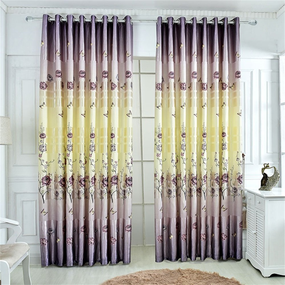 TIANTA- A Set Of 2 Pcs Bedroom Living Room Balcony Semi-shading Satin Fabric Curtain Simple Modern Finished Product decorate ( Size : 2.42.7m (widthheight) )