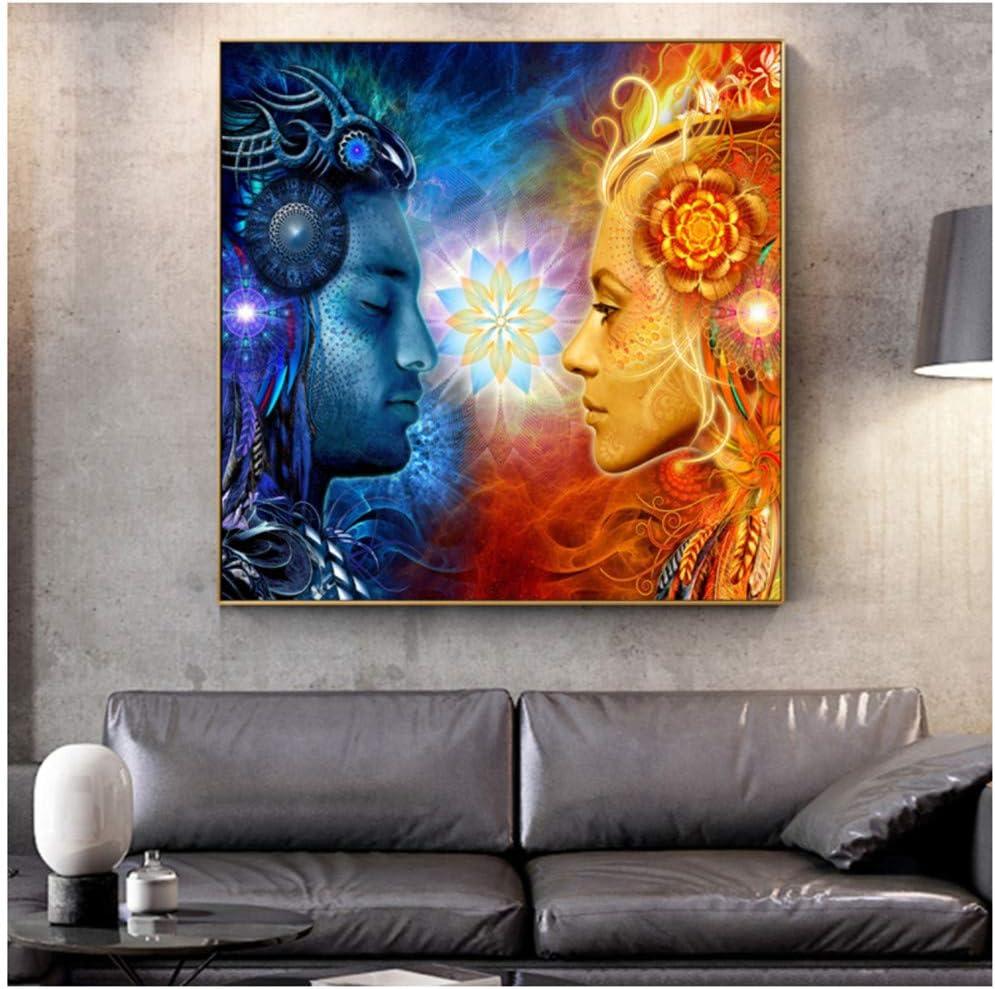Tantra Shiva and Shakti Wandkunst Leinwanddrucke Hindu G/ötter Pop Art Poster An Der Wand Gem/älde Bilder F/ür Wohnzimmer 40x40 cm Kein Rahmen 15,7x 15,7