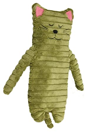 Inware 8781 - Wärmetier Katze, grün, 9 x 24 cm, Wärmekissen