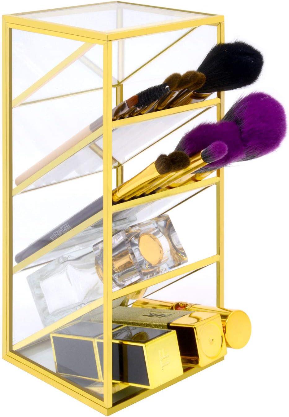 VoiceFly Brush Pen Holder Storage, Vintage Makeup Organizer Gold Metal Dresser Organizer, Brushes Eyeliner Lipstick Pen Storage for Home Office Supplies, 4 Compartments