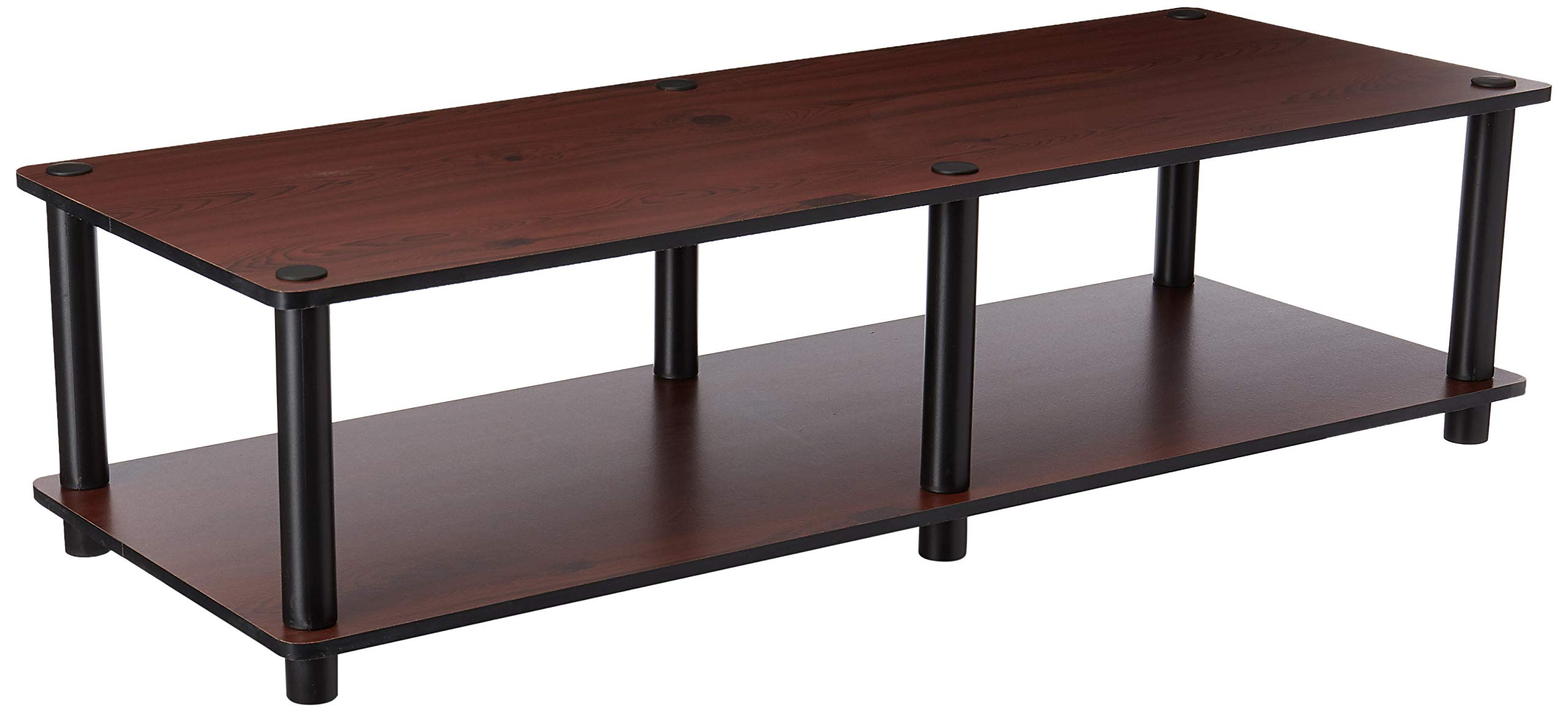 Furinno 11175DC(BK)/BK Just No Tools Dark Cherry Wide Television Stand with Black Tube