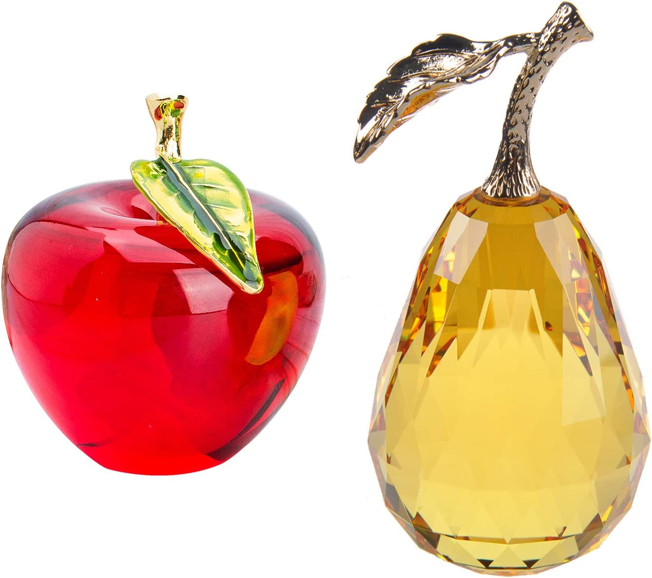 H/&D HYALINE /& DORA Crystal Paperweight,Crystal Glass Red Apple Pear Figurine Table Decor Ornament
