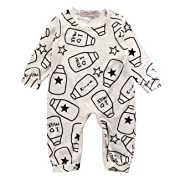 Baby Boys Girls I LOVE MILK Cute Rompers Toddler One Piece Bodysuits Outfit (3-6M, cream)