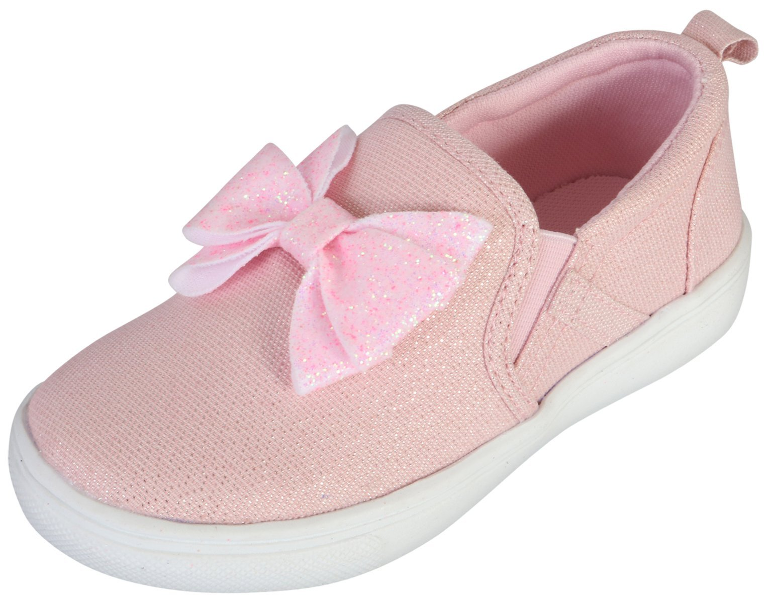 Nicole Miller New York Girl's Slip-On Canvas Sneaker with Glitter Bow, Pink, 6 M US Toddler'
