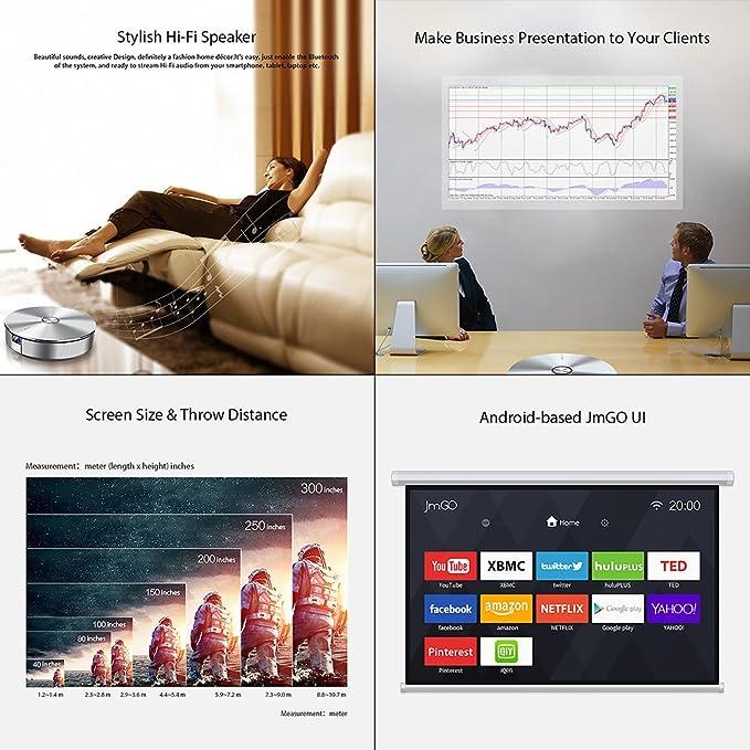 JmGO G1 - Proyector Home Cinema LED HD para hogar 1500LM@ CPU 1.5G 16GB eMMC, Bluetooth, WiFi, Cuerpo metálico, Color Plata