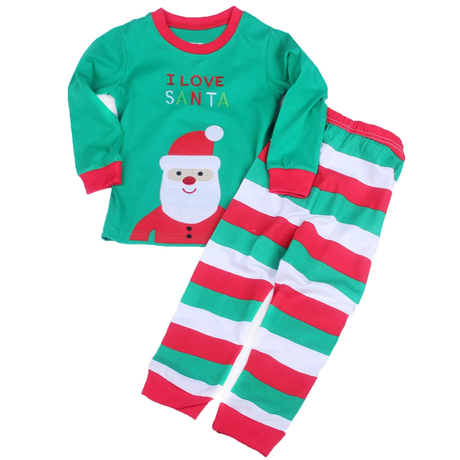 amazoncom baby house toddler kid boys girls christmas pajama t shirtlong pants size t3 clothing - Christmas Pjs Toddler