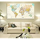 "Rand Mcnally Total Home World Map(50"" * 32 "") Large Modern Enlish World Map Oil Painting ,(Color: Ivory)"