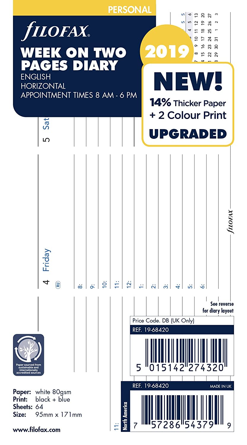 Filofax 19-68420 Personal Week On Two Pages 2019 Horizontal Appointments Diary