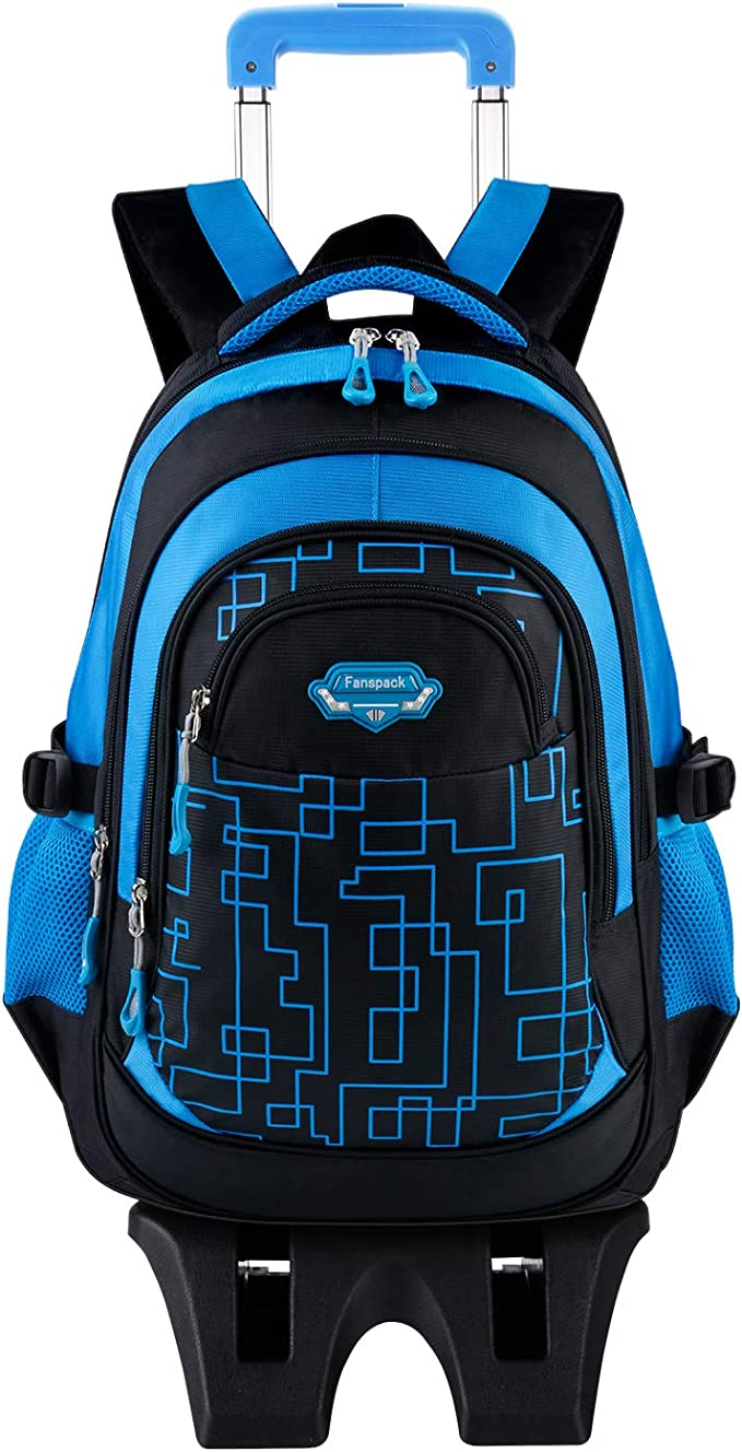 Wheeled Backpack, Fanspack Rolling Bacpack with 6 Wheels School Bags Bookbags