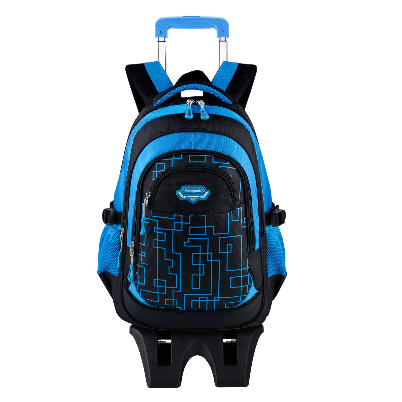 Rolling Backpack for Boys, Fanspack Backpack with Wheels Trolley School Bags Kids Backpack Bookbags Wheeled Backpack for School by Fanspack