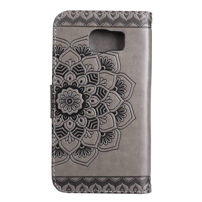 Elegante Anti-Golpes Carcasa con Soporte Plegable para Samsung Galaxy S7 Edge Funda Galaxy S7 Edge Bear Village/® Magn/ético Funda de Cuero #1 Oro