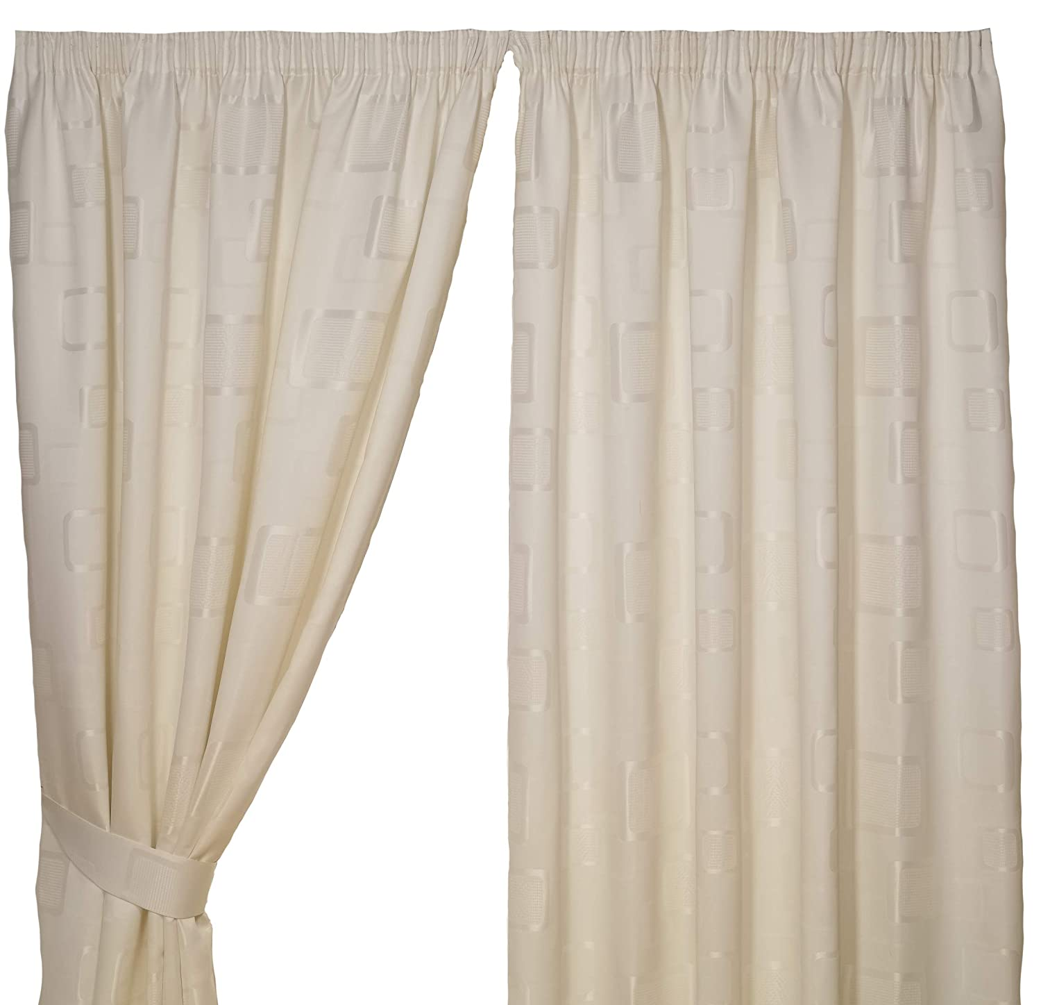 Impressions Milano Teal Fully Lined Readymade Curtain Pair 46in Wide x 54in Drop Approximately (116x137cm) Including One Pair Of Co-Ordinating Tiebacks. 4 Your Home
