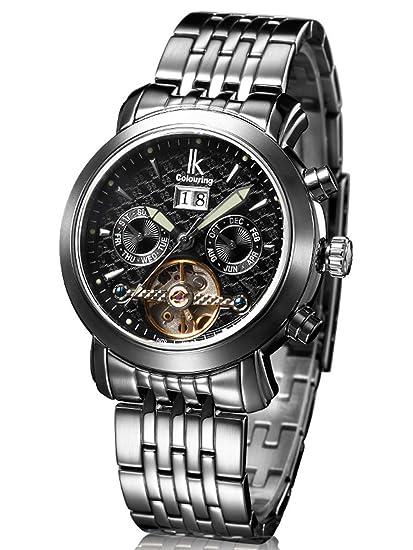 Alienwork IK Reloj Mecánico Automático Relojes Automáticos Hombre Mujer Acero inoxidable plata Analógicos Unisex Calendario Fecha