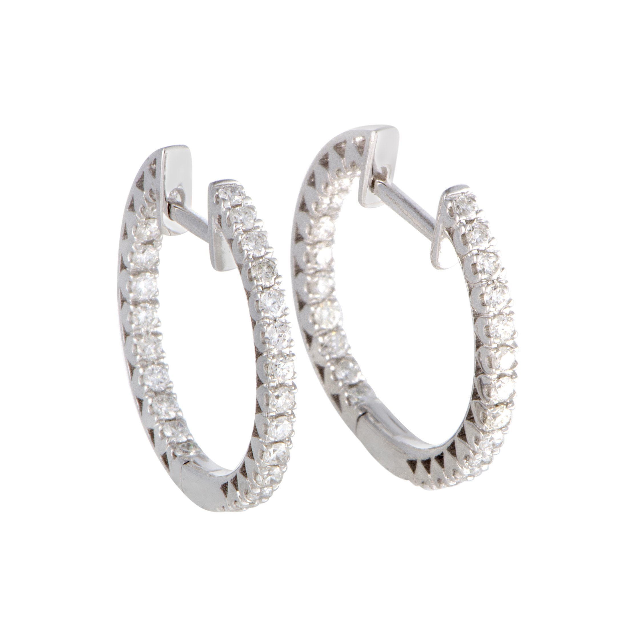 Stunning 0.63'' Diamond Hoop Earrings in 14K White Gold; 0.66 Carats of White Diamonds (G Color, SI1-SI2 Clarity) (white-gold)