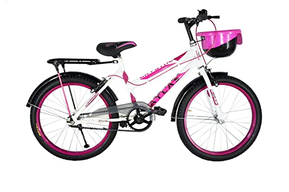 Atlas Crystal Single Steel Speed Bike for Boys and Girls, 20 Inches (White and Pink, 7-9 Years)