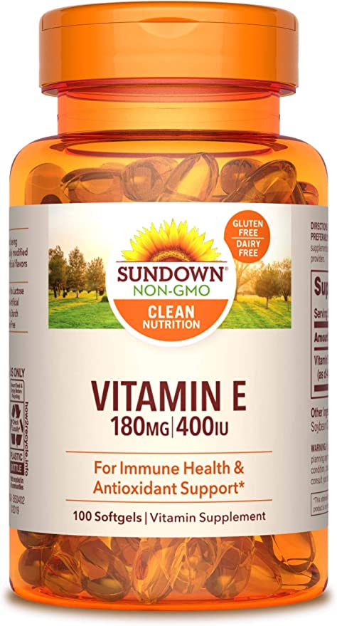 Amazon Com Vitamin E By Sundown For Immune Support And Antioxidant Support Gluten Free Dairy Free 100 Softgels Packaging May Vary Health Personal Care