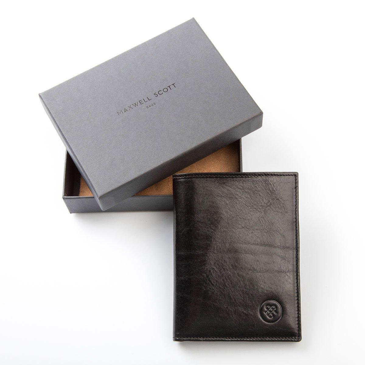 Maxwell Scott® Cartera vertical de dos secciones en Piel Italiana con Tarjetero Negro (Salerno): Amazon.es: Equipaje
