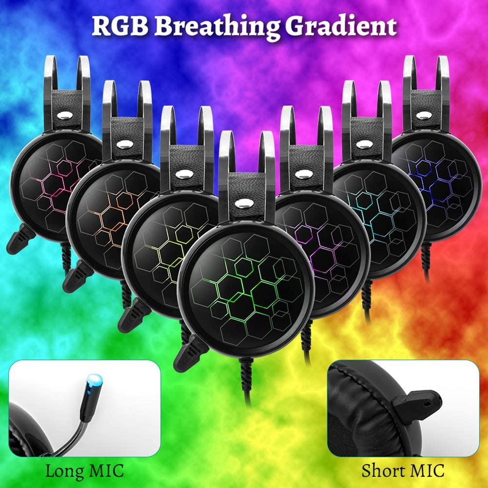 Professional 7.1 Gaming Headset Headphones with Noise Cancelling Microphone Gamer Surround Sound USB Wired for PC Computer Xbox One PS4 RGB Light,7.1shortMIC