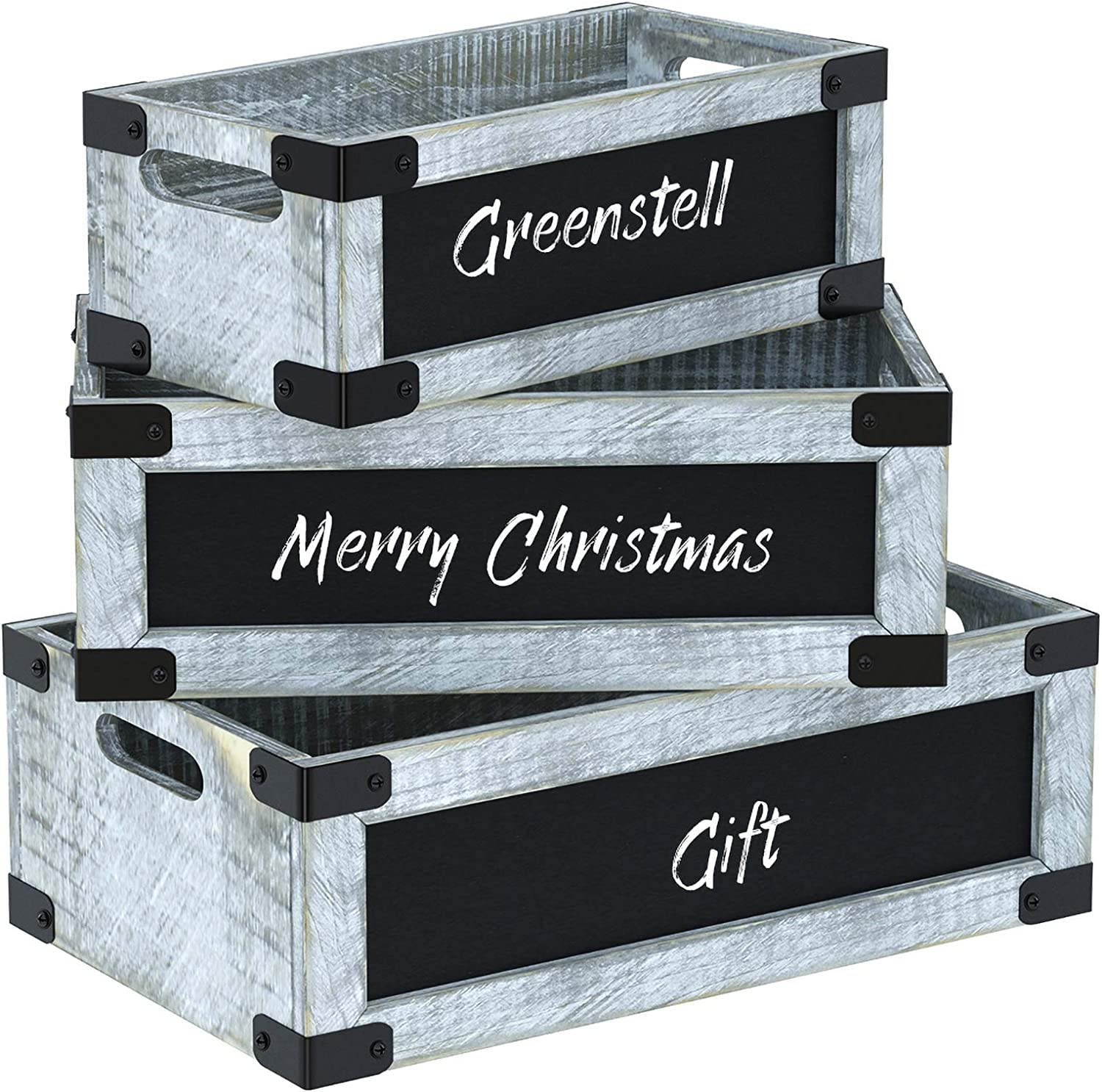 Greenstell Rustic Grey Wooden Crate with Chalkboard and Cutout Handle, Decorative Farmhouse Display Wood Storage Crate Box for Storing Fruit, Milk, Beer, Egg Set of 3