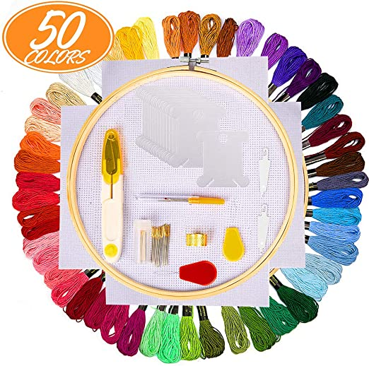 Kits de Punto de Cruz Aimego 100 PCS Hilos Multicolor 5 Aros Bordado 2 Tela Bordada con el Otro Accesorios para Punto de Cruz Tejido de Punto