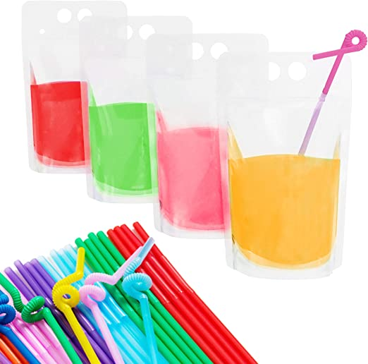 100 PCS Heavy Duty Zipper Drink Pouches Reclosable Stand-up Bags with 100 Pcs Reusable Drink Straws for Smoothie, Cold & Hot Drinks Product Name