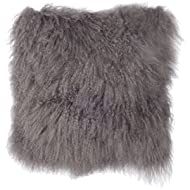 SLPR Mongolian Lamb Fur Throw Pillow Cover (24'' x 24'', Grey) | Real Fur Decorative Cushion Cover Pillow Case for Living Room Bedroom