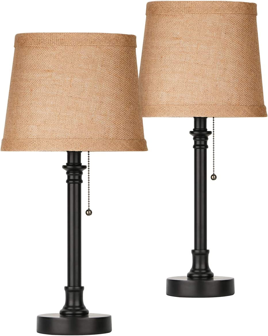 Amazon Com Oneach Maria Rustic Table Lamp Set Of 2 Bedside Desk Lamp Reading Table Lamp Sets For Bedroom Living Room Study 20 Dark Brown Home Improvement